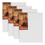 """Odessa Professional Russian-Style Stretched Linen Canvas Medium Extra Fine - Oil Primed 12x16"""" Box of 4"""