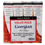 Georgian Oil Color 225ml 3 Pack Primary Value Tubes Plus Free Titanium White