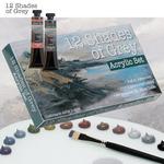 12 Shades of Grey Acrylic Colors and Sets