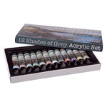 12 Shades of Grey Acrylic Colors Set of 12 21 ml Tubes - Assorted Greys