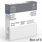 """Winsor & Newton Professional Canvas Standard Depth (0.82"""") Stretched Canvas Box of 5 - 4X4 In"""