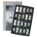 Richeson Hand-Rolled Soft Pastels Set of 20 Grey Tones