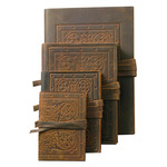 Luxury Leather Bound Soft Cover Sketch Book - Dark Brown - Embossed Medieval Pattern Cover 5.7x8.3""