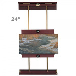 Rue Wall Display & Painting Easel Small- 24in Wide-Canvases up to 34in High - Mahogany