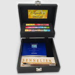 Sennelier Watercolors Black Wooden Box Set Of 24 Half Pans And Accessories