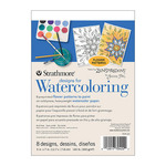 Strathmore Designs for Watercoloring Printed Cold Press Watercolor Pad Flower Designs 5x7""