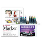 Concept Marker Color BONUS Set of 24 Basic Colors with Strathmore 500 Series Marker Pad 11x14""