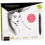 Prismacolor Double-Ended Brush Tip Markers Set of 12 - French Greys