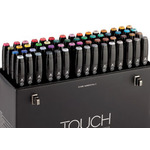 "ShinHan TOUCH TWIN Art Markers Broad Chisel / Fine Bullet Tips Set of 60 ""B"" - Assorted Colors"