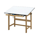 "ALVIN Drafting Table Titan Table w/ Drawer 36x48x37"" - Natural Oak Finish"