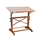 "ALVIN Drafting Table Pavillon Table 24x36"" - Natural Wood Top and Base"