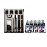 GOLDEN High Flow Acrylics Set of 10 30ml Bottles - Transparent Colors + Technoart Pen Set of 4