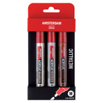 Amsterdam Acrylic Markers 4 mm Metallic Colors Set of 3 Silver, Light Gold, and Deep Gold