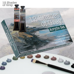 12 Shades of Grey Acrylic Colors and Sets
