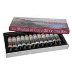 12 Shades of Grey Oil Colors Set of 12 - 21ml Tubes - Assorted Greys