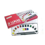 LUKAS Watercolor Metal Box Set of 16 Half Pans