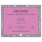 "Arches Watercolor Block 140 lb. 20 Sheets Hot Press 16X20"" - Natural White"