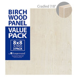 3-Pack Ampersand Artist Panels Birch Wood 7/8in Cradle 8X8