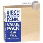 4-Pack Ampersand Artist Panels Birch Wood 7/8in Cradle 6X6