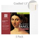 "Ampersand Value Series Artist Panel 5 Pack Canvas Finish - 1-1/2"" Cradle 8x10"""