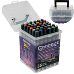 Concept Dual-Tip Marker 36 Color Set In Clear Case With Handle