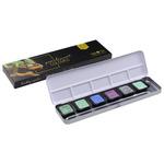 FineTec Watercolor Halfpan Pearlescent Cool Colors Metal Box Set of 6