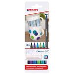 Edding 4200 Porcelain Brush Pen Tin Set of 6 Cool Colors