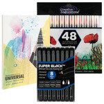 Creative Inspirations Watercolor Brush Pen Set of 48 + Pad + Super Black Set