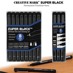 Creative Mark Super Black Permanent Fineliner Pen Sets