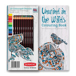 Derwent Unwind in the Wilds Coloring Book Set with 10 Coloursoft Pencils