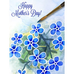 Mother's Day Art eGift Card - Blue Watercolor Flowers - electronic gift card eGift Card