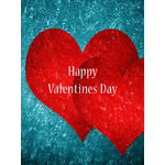 Valentine's Day Art eGift Card - Red Hearts On Blue - electronic gift card eGift Card