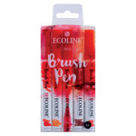 Ecoline Liquid Watercolor Water-Based Brush Pen Set of 5-Reds Colors