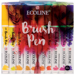 Ecoline Liquid Watercolor Water-Based Brush Pen Set of 20 - Assorted Colors