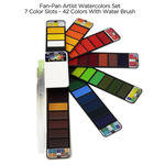 Fan-Pan Watercolor Set Of 42 Pans w/ Waterbrush by Creative Mark