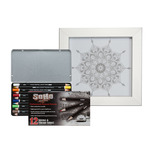 Framed Coloring Kit with SoHo Colored Pencil Set of 12 - Ornate Mandala Design