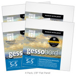 "4-Pack Gessobord 1/8"" Flat Panel  5X5"