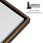 "Illusions Floater Frame for 3/4"" Canvas 14x18"" - Antique Gold/Black"