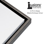 "Illusions Floater Frame for 3/4"" Canvas 12x12"" - Antique Silver/Black"
