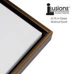 "Illusions Floater Frame for 3/4"" Canvas 24x30"" - Walnut/Gold"