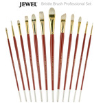 Jewel Professional Bristle Long Handle Brush Set of 12