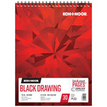 Koh-I-Noor 70lb Draw Pad Black 11x14in-30 Sheet Spiral In/Out
