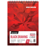 Koh-I-Noor 70lb Draw Pad Black 9x12in-30 Sheet Spiral In/Out