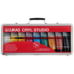 Lukas Cryl Studio Acrylics 100ml Suitcase Set of 9 Tubes