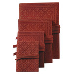 """Luxury Leather Bound Soft Cover Sketch Book - Red - Embossed Diamond Pattern Cover 3.5x5.1"""""""