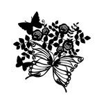 Marabu Silhouette Stencil Butterflies & Roses 12x12 In