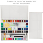 Maries Professional Watercolor Half-Pan Set Of 48 w/ Brushes & Accessories