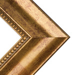 """Bordeaux 3"""" Flat Gold Beaded Wood Frame with 2mm glass and cardboard backing 8x10"""" - Gold"""