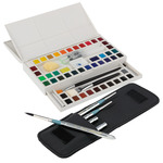 Mimik Synthethic Squirrel Pocket Brush Set of 5 & Marie's Watercolor Half Pan Set of 48 Bundle