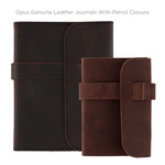Opus Genuine Leather Journals with Pencil Closure